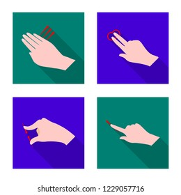 bitmap design of touchscreen and hand icon. Collection of touchscreen and touch bitmap icon for stock.