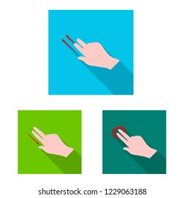 bitmap design of touchscreen and hand sign. Set of touchscreen and touch stock bitmap illustration.