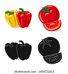 bitmap design of vegetable and fruit symbol. Collection of vegetable and vegetarian stock symbol for web.