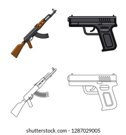 bitmap design of weapon and gun icon. Set of weapon and army bitmap icon for stock.