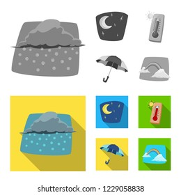 bitmap design of weather and climate icon. Set of weather and cloud stock bitmap illustration.