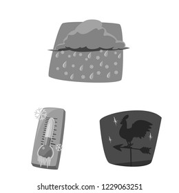 bitmap design of weather and climate icon. Collection of weather and cloud stock bitmap illustration.