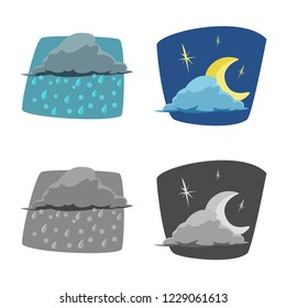 bitmap design of weather and climate sign. Collection of weather and cloud stock bitmap illustration.