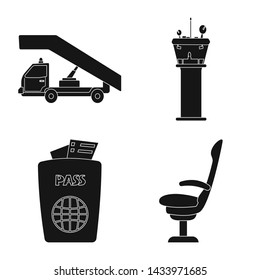 bitmap illustration of airport and airplane symbol. Collection of airport and plane stock bitmap illustration.