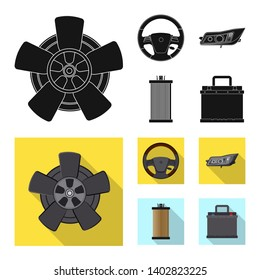 bitmap illustration of auto and part logo. Collection of auto and car stock bitmap illustration.