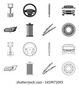 bitmap illustration of auto and part logo. Set of auto and car stock bitmap illustration.