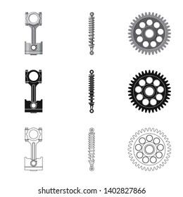 bitmap illustration of auto and part symbol. Set of auto and car stock bitmap illustration.