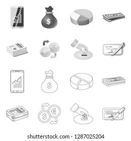 bitmap illustration of bank and money icon. Set of bank and bill stock bitmap illustration.