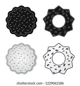 bitmap illustration of biscuit and bake logo. Collection of biscuit and chocolate stock bitmap illustration.
