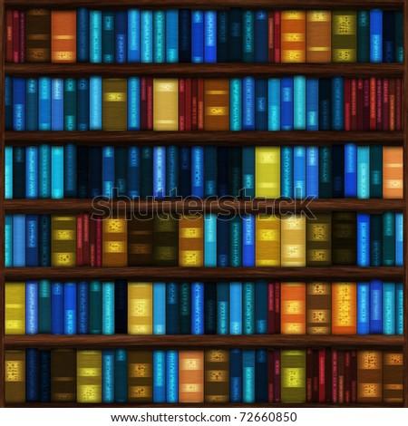 Bitmap Illustration Bookshelves Full Books Seamless Stock