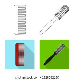 bitmap illustration of brush and hair icon. Collection of brush and hairbrush stock bitmap illustration.