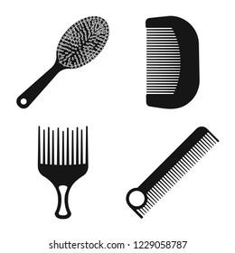 bitmap illustration of brush and hair logo. Collection of brush and hairbrush stock bitmap illustration.