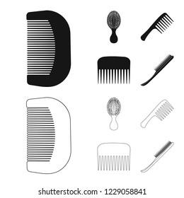 bitmap illustration of brush and hair logo. Set of brush and hairbrush bitmap icon for stock.