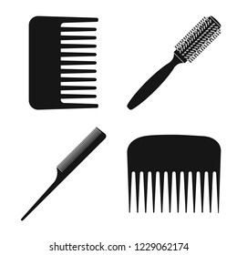 bitmap illustration of brush and hair logo. Collection of brush and hairbrush bitmap icon for stock.