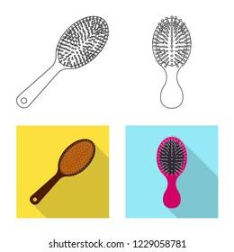 bitmap illustration of brush and hair symbol. Set of brush and hairbrush bitmap icon for stock.