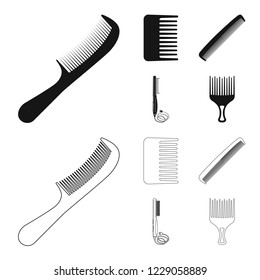 bitmap illustration of brush and hair symbol. Collection of brush and hairbrush stock bitmap illustration.
