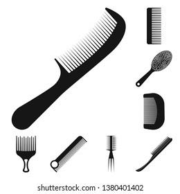 bitmap illustration of brush and hair symbol. Collection of brush and hairbrush bitmap icon for stock.