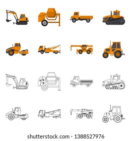 bitmap illustration of build and construction icon. Set of build and machinery bitmap icon for stock.