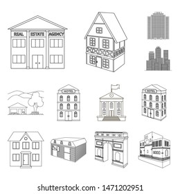 bitmap illustration of building and city sign. Collection of building and business stock symbol for web.