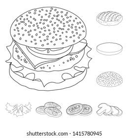 bitmap illustration of burger and sandwich icon. Set of burger and slice stock bitmap illustration.