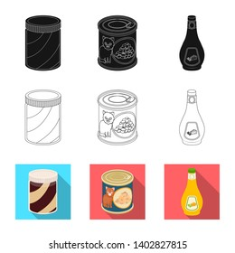 bitmap illustration of can and food logo. Set of can and package bitmap icon for stock.