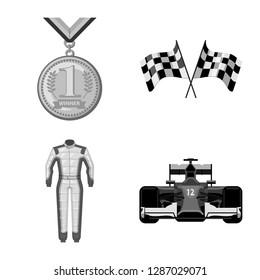 bitmap illustration of car and rally logo. Set of car and race stock bitmap illustration.
