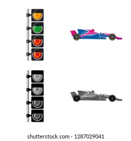 bitmap illustration of car and rally sign. Collection of car and race stock bitmap illustration.