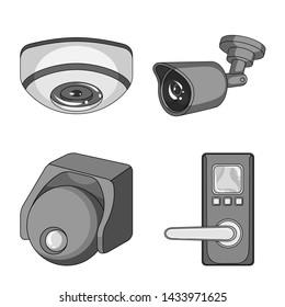 bitmap illustration of cctv and camera icon. Collection of cctv and system bitmap icon for stock.