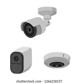 bitmap illustration of cctv and camera sign. Set of cctv and system bitmap icon for stock.