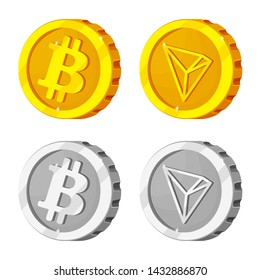 bitmap illustration of cryptocurrency and coin symbol. Set of cryptocurrency and crypto stock symbol for web.