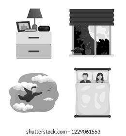 bitmap illustration of dreams and night icon. Set of dreams and bedroom bitmap icon for stock.