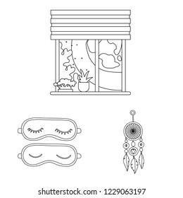 bitmap illustration of dreams and night logo. Collection of dreams and bedroom stock bitmap illustration.