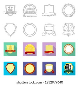 bitmap illustration of emblem and badge icon. Collection of emblem and sticker stock symbol for web.