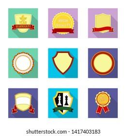 bitmap illustration of emblem and badge icon. Collection of emblem and sticker bitmap icon for stock.