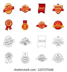 bitmap illustration of emblem and badge logo. Set of emblem and sticker bitmap icon for stock.
