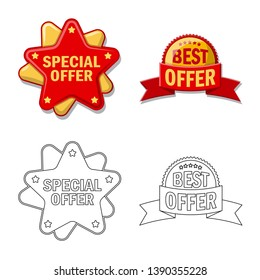 bitmap illustration of emblem and badge logo. Set of emblem and sticker stock bitmap illustration.
