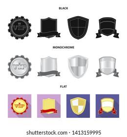 bitmap illustration of emblem and badge symbol. Collection of emblem and sticker bitmap icon for stock.