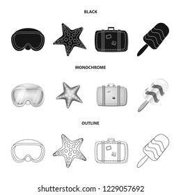 bitmap illustration of equipment and swimming logo. Collection of equipment and activity stock bitmap illustration.