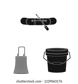 bitmap illustration of fish and fishing sign. Set of fish and equipment stock bitmap illustration.