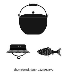 bitmap illustration of fish and fishing symbol. Collection of fish and equipment bitmap icon for stock.
