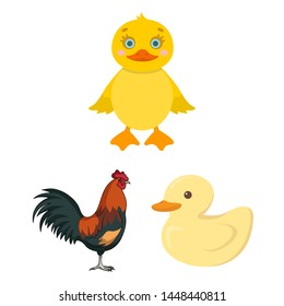 bitmap illustration of funny and poultry logo. Set of funny and farming bitmap icon for stock.