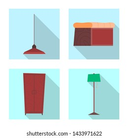 bitmap illustration of furniture and apartment symbol. Set of furniture and home stock bitmap illustration.