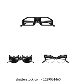 bitmap illustration of glasses and sunglasses logo. Collection of glasses and accessory stock bitmap illustration.