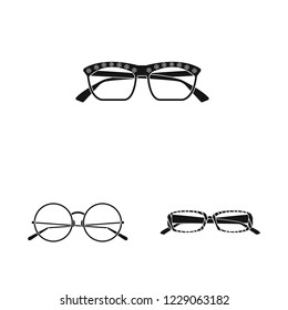 bitmap illustration of glasses and sunglasses sign. Set of glasses and accessory bitmap icon for stock.
