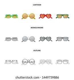 bitmap illustration of glasses and sunglasses sign. Set of glasses and accessory stock bitmap illustration.