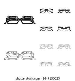 bitmap illustration of glasses and sunglasses symbol. Set of glasses and accessory stock symbol for web.