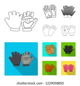 bitmap illustration of glove and winter icon. Set of glove and equipment stock bitmap illustration.