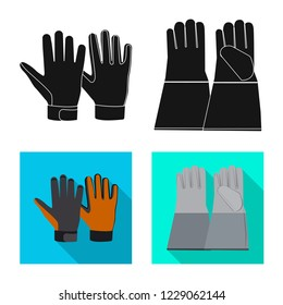 bitmap illustration of glove and winter icon. Collection of glove and equipment bitmap icon for stock.