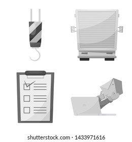 bitmap illustration of goods and cargo symbol. Set of goods and warehouse bitmap icon for stock.