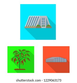 bitmap illustration of greenhouse and plant logo. Set of greenhouse and garden bitmap icon for stock.